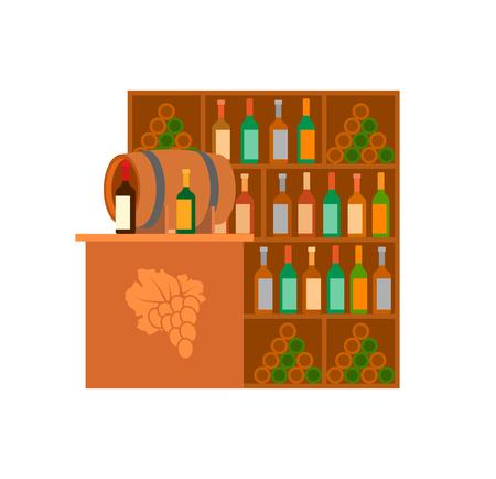 Weinkellerei alkoholische Getränke, die Ladenstand-Vektor verkaufen