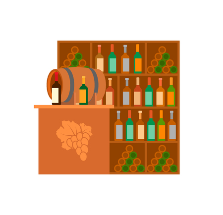 Winery Alcoholic Drinks Selling Store Stand Vector