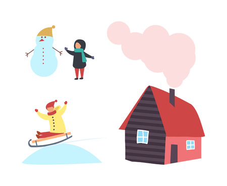 Snowman and child, cottage house with chimney, boy sledding in snow vector isolated icons. Cartoon winter characters, children in warm cloth outdoors