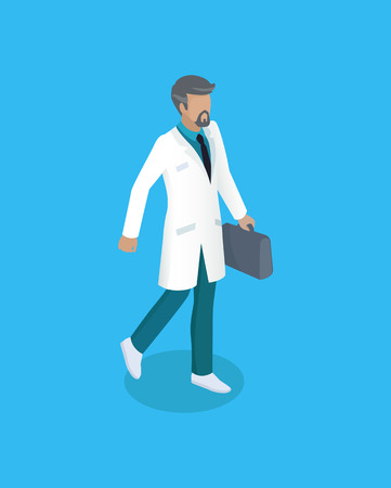 Doctor with briefcase icon closeup. Physician wearing white coat fist aid doc. Bearded man professional medical worker carrying bag isolated on vector