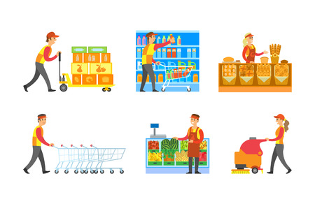 Supermarket store departments workers set vector. Man arranging bottles at shelves, shopping trolley. Cleaner and loader with goods. Bakery and fruits Illustration