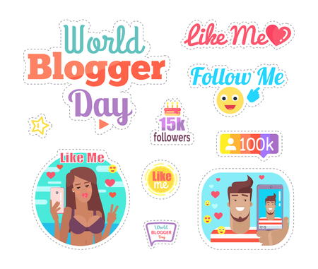 World Blogger Day Cake with Candles Set Vector