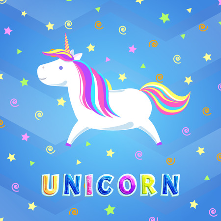Unicorn with rainbow mane and sharp horn running in cartoon sky with swirls and stars. Mysterious horse from fairy tales or legends. Childish animal vector