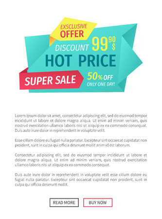 Hot price super sale poster with text sample. Exclusive offer buy now and save money. Economic proposition deal with market. Super clearance vector 일러스트