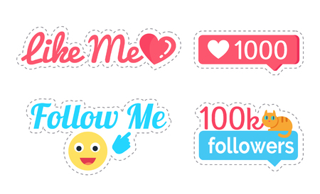 Follow and Like Me Followers Number Set Vector