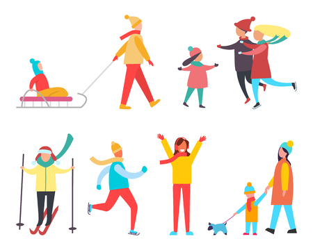 Winter activity and active lifestyle set vector. Skiing and skating, kid sitting on sledge, family with child. Mother and son walking dog canine pet
