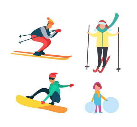 Winter active people wintertime hobbies isolated set vector. Kid girl with big snowballs, snowboarder on wooden board. Male and female going in sports