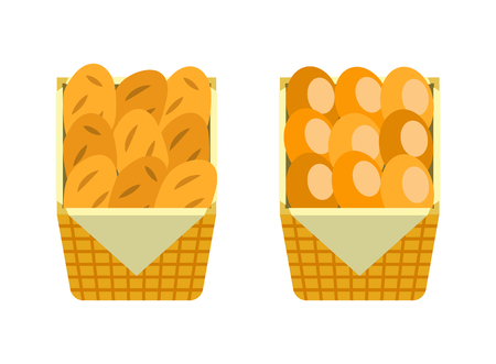 Fresh buns in wooden basket vector bakery shop loaves of bread isolated on white. French moulding breads in package vector icons, flat style design Illustration