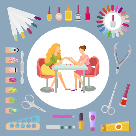 Manicure manicurist and tools nails polishing process. Set of isolated icons, file and scissors, lotions and separator toenails, essential oils vector