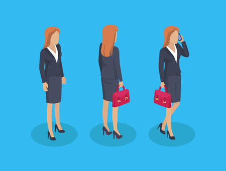 Woman businesslady icons set. Counselor talking on phone businesswoman carrying briefcase with papers. Business work of female isolated on vector