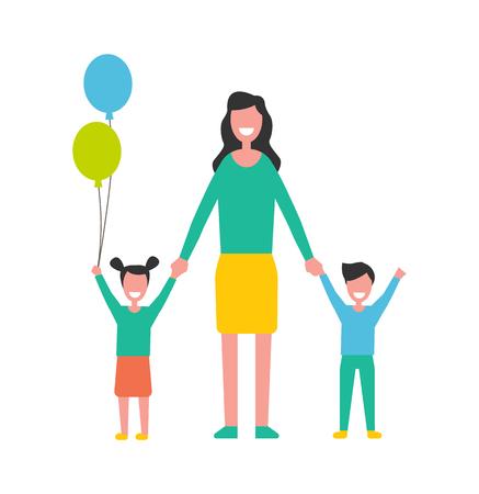 Donna che si prende cura dei bambini, madre con bambini maschi e femmine. Personaggi dei cartoni animati, figlia con palloncini colorati e figlio alza le mani vettore isolato