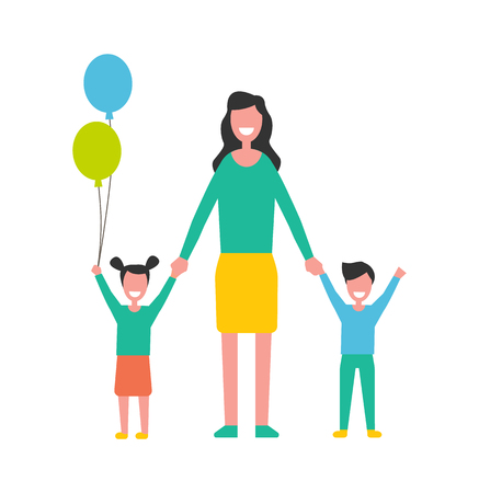 Woman taking care about kids, mother with boy and girl children. Cartoon characters, daughter with color balloons and son raises hands up vector isolated Illustration
