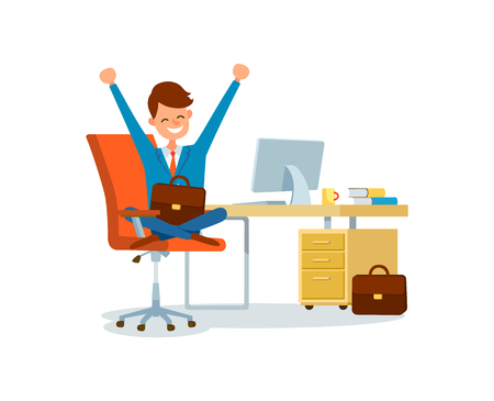 Business worker at workplace, businessman working at office vector. Man happy to work, boss holding briefcase sitting on chair by desk with laptop pc