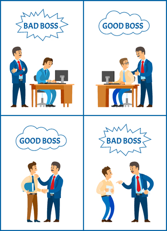 Good and bad boss, director with office workers set vector. Chief executive giving reprimand to novice, leader praising programmer man by computer Çizim