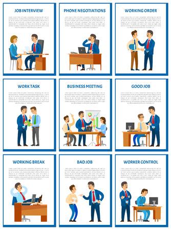 Geschäftstreffen und Vorstellungsgespräch mit Kandidaten im Bürovektor. Entlassung von Arbeitern, tadelt Arbeitsaufträge. Pause bei der Arbeit, entspannter Chef