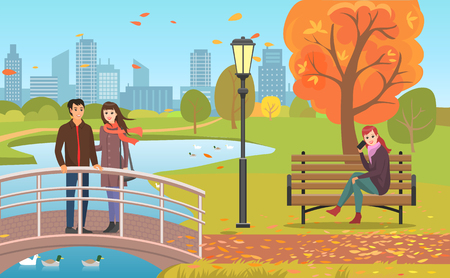 Autumn park with pond, couple crossing bridge and woman on bench talking by phone. Streetlight among flying fall leaves or trees vector illustration. 矢量图像