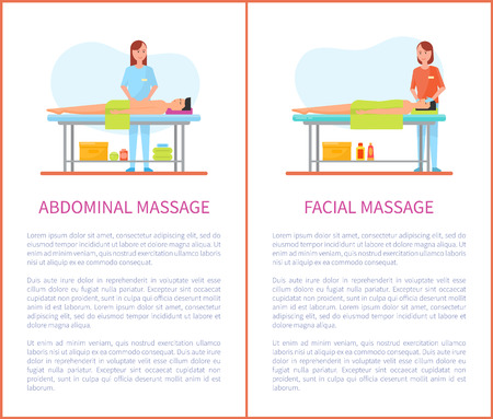 Abdominal and facial medical massage session cartoon posters set with text. Masseur girl in uniform and patient man lying on table relaxed and pleased Иллюстрация