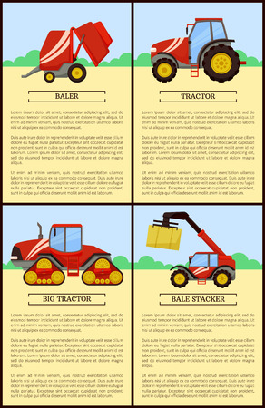 Tractor and Baler Machines Vector Illustration