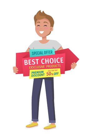 Special offer boy with vector banner in hands Иллюстрация