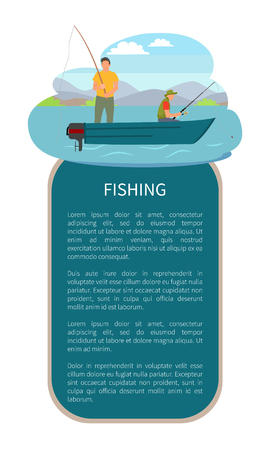 River or Lake Fishing on Motor Boat Vector Poster Иллюстрация
