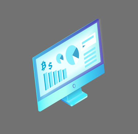 Computer monitor with data and information about bitcoin and dollar. Rising charts and pie diagrams, info analysis and researches visualization vector