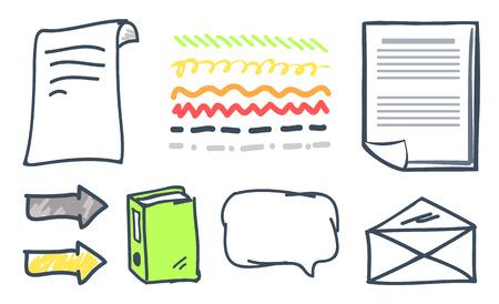 La carta dell'ufficio e le punte di freccia hanno isolato il vettore delle icone. Pagine con testo, lettera chiusa a busta con informazioni, libro e fumetto, puntatori e indicatori
