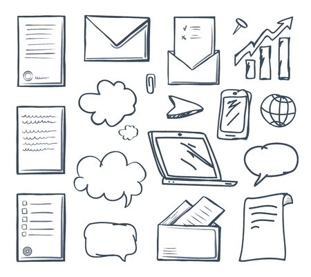 L'écran de l'ordinateur portable en papier de bureau et les icônes isolées du téléphone définissent le vecteur. Bulle de pensée et pointeur, curseur indicateur croissant et message ouvert dans l'enveloppe