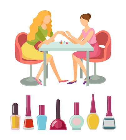 Spa salon manicure client and specialist vector, icons set. Bottles with paint nails polishing liquid of different colors. Manicurist beauty service Иллюстрация