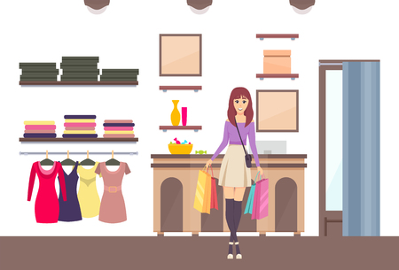 Shopping woman with bags in brand boutique vector. Purchases fashionable clothes, shop interior decor and shelves with luxury products. Changing room Stock Vector - 126532622