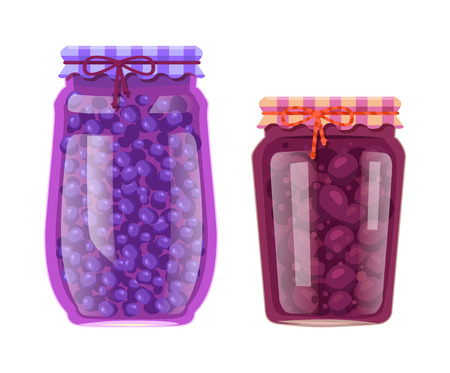 Blueberry and plum preserved natural food in jar. Berries or fruits inside glass containers saved for winter. Canned product vector illustrations.