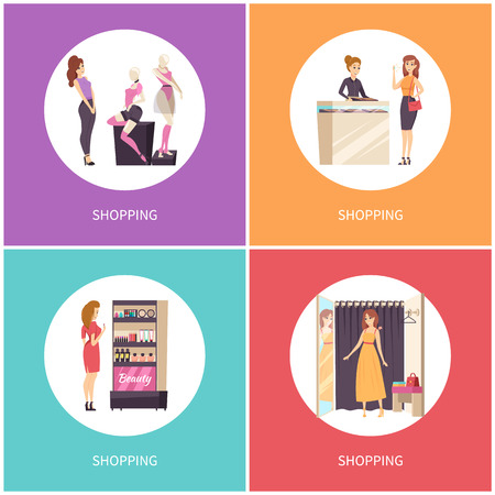 Shopping female with cosmetics stand set vector. Makeup products, jewelry department and consultant. Woman trying dress in changing room of shop store