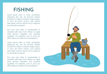 Fishing poster with fisherman holding rod sitting on wooden pier. Fishery hunter with text sample and person with bucket and caught fish animal vector