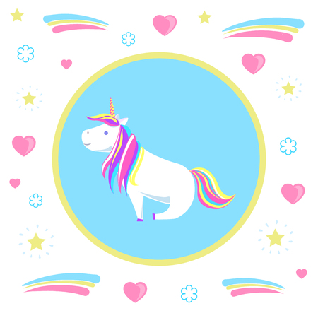 Sitting unicorn from legend, mysterious horse from fairy tales on pattern with hearts and dots. Childish animal character with rainbow mane vector