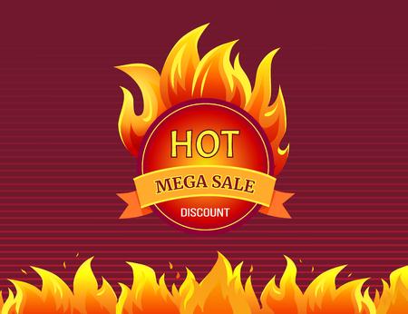 Round Mega Sale Emblem with Burning Blaze Sign