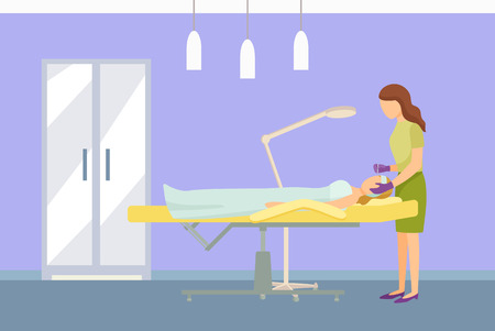 Cosmetician facial cosmetic procedures. Woman cosmetologist using tool instrument while working with clients face. Specialist and lady on table vector