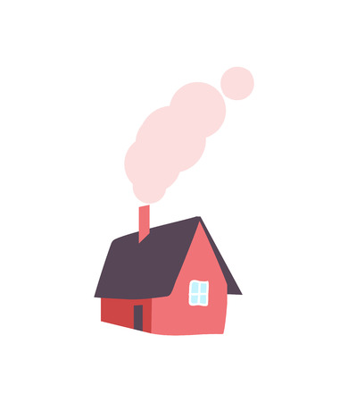 Winter House with Chimney, Smoke from Pipe, Vector Archivio Fotografico - 114493721