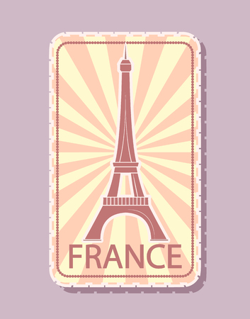 France Sticker Magnet for Tourists Tower Vector