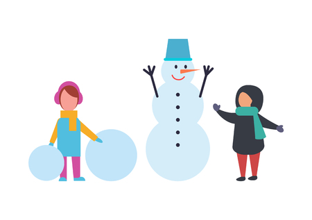 Winter holidays children playing outdoor together vector. Snowman made of snow wearing metal bucket on head. Kids playing with snow balls, childhood