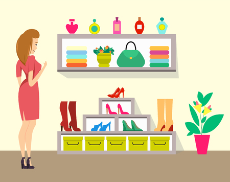 Woman Choosing Boots in Store, Ladies Shop Vector Illustration