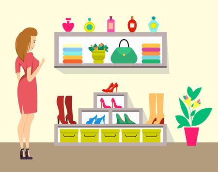 Woman Choosing Boots in Store, Ladies Shop Vector Иллюстрация