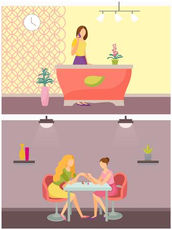 Spa Salon Receptionist and Manicurist Set Vector Illustration