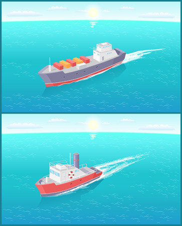 Steamboat marine transport vessel and cargo ship sailing and leaving traces in water. Transportation sailboat on skyline, speedboat floating vector icon