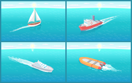 Water transport traveling vessels ships vector. Set of boats, inflatable and with motor engine for quick travel. Voyage by sea and ocean. Cruise liner