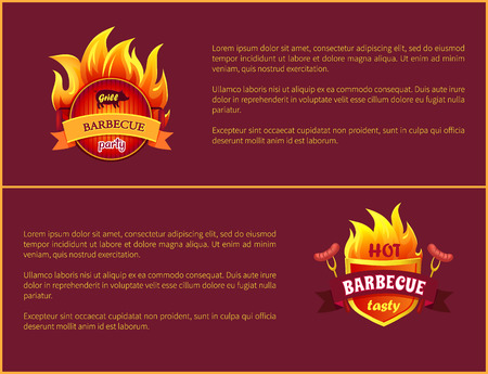 Hot Barbecue Grill Sign Tasty Frankfurter Sausages Stock Vector - 114493824