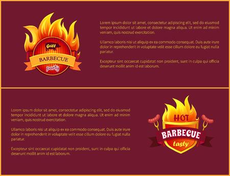 Hot Barbecue Grill Sign Tasty Frankfurter Sausages Illustration