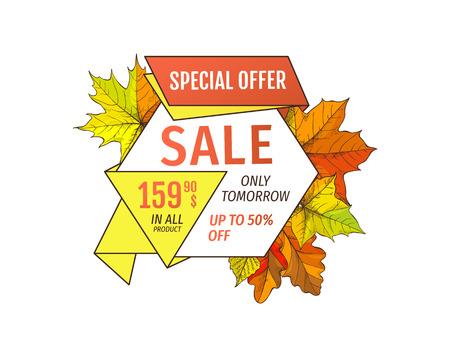 Special offer sale only tomorrow up to fifty percent discount. Promo price 159.90 advertisement autumn label with orange and yellow leaves isolated Ilustración de vector