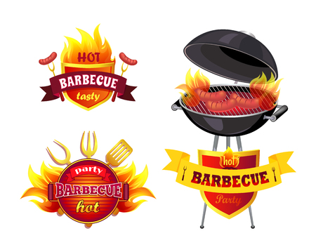 Hot BBQ Barbecue Tasty Set Vector Illustration