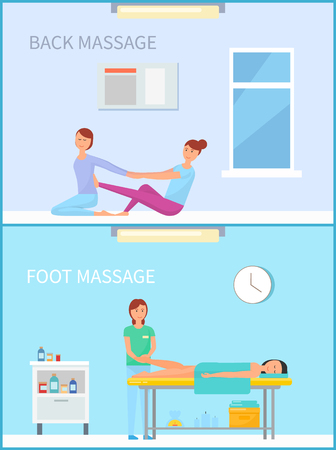 Back Foot Treatment and Massage in Salon Vector Stok Fotoğraf - 115100170