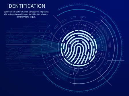 Identification fingerprints poster illuminated data vector. Screen with prints for people to access information. Verification and validation scanning Illustration