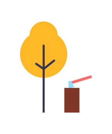 Autumn Tree, Ax in Stump Landscape Vector Set